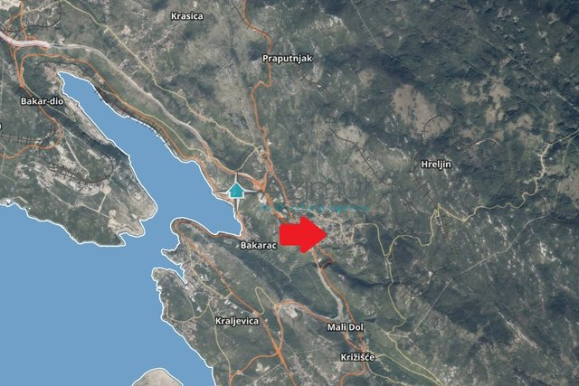 Hreljin, građevinsko zemljište sa pogledom na more, 1515 m2, 70.000,00 €